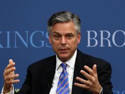 Republican presidential candidate Jon Huntsman speaks at the Brookings Institution on Monday.
