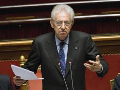Italian Premier Mario Monti unveils his anti-crisis strategy ahead of a confidence vote at the Senate Thursday in Rome.