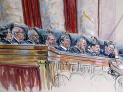 An artist's rendering shows top justices, from left, Sonia Sotomayor, Stephen Breyer, Clarence Thomas, Antonin Scalia, Chief Justice John Roberts, Anthony Kennedy, Ruth Bader Ginsburg, Samuel Alito and Elena Kagan.