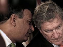 Pakistani ambassador Husain Haqqani, left, talks with Richard Holbrooke, former U.S. special representative for Afghanistan and Pakistan, on July 19, 2010, in Islamabad, Pakistan.