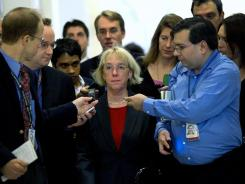 U.S. Sen. Patty Murray, D-Wash., is followed by reporters as she arrives for a meeting between Republican and Democratic members of the Supercommittee.