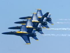 The Blue Angels take to the skies over Pensacola Beach, Fla., July 8, 2010.