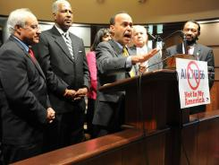 Rep. Luis Gutierrez speaks during an ad hoc field hearing concerning immigration law HB56 on Monday in Birmingham, Ala. Gutierrez is flanked by Rep. Joe Baca, from left, Mayor William Bell, Rep. Terri Sewell, Rep. Silvestre Reyes and Rep. Al Green.