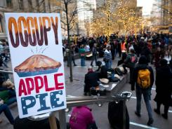 Occupy Wall Street protesters host Thanksgiving dinner in Zuccotti park.