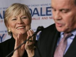 In this 2007 file photo, Maggie Daley applauds the remarks of her husband Richard M. Daley.