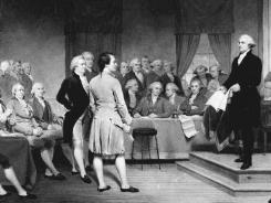 How it used to be done:  This 1856 painting shows George Washington presiding over a 1787 constitutional convention in Philadelphia.