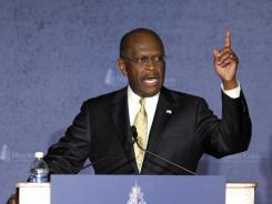 Lagging in polls:  Republican presidential candidate Herman Cain delivers a speech about foreign policy Tuesday at Hillsdale College in Hillsdale, Mich.