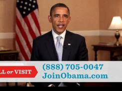 This screengrab shows President Obama's TV ad that aired Tuesday.