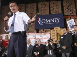 Former Massachusetts governor Mitt Romney speaks during a campaign stop on Tuesday in Medley, Fla.