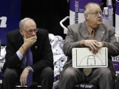 Longtime friends : Syracuse coach Jim Boeheim, left, and assistant Bernie Fine at a game last year.