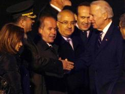 Vice President Biden is greeted upon his arrival at the airport in Ankara.