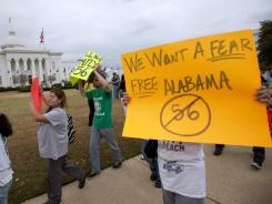 Outside Alabama Capitol : Protesters against HB 56, called the harshest state immigration law in the U.S.