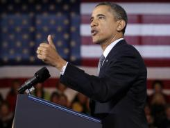 "President Obama outlines some of his economic policies Tuesday in Osawatomie, Kan. ""I believe that this country succeeds when everyone gets a fair shot,"" he said."