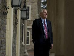 Rodney Erickson, president of Penn State University, standing outside Old Main at University Park in State College, Pa. He assumed responsibilities Nov. 9.
