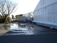 Radioactive water leaks Sunday from a building with a purification device at the tsunami-damaged Fukushima Dai-ichi nuclear power plant in Japan.