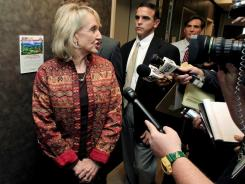 Arizona Gov. Jan Brewer speaks to members of the media on Nov. 21 in Phoenix.