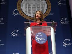 U.S. Rep. Michele Bachmann, R-Minn., addresses the Republican Jewish Coalition's 2012 Presidential Candidates Forum on Wednesday.