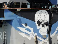 Environmental activists Sea Shepherd's ship 'Steve Irwin' at anchor near Perth, Dec. 7. Australia rejected a call from Japan to provide more security for its whaling fleet in Antarctic waters, the site of clashes with animal rights activists in years past.