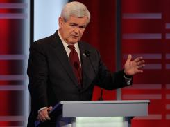 Newt Gingrich was a constant target Saturday during the GOP presidential debate in Des Moines.