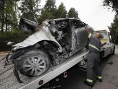 A driver died in the fiery wreckage of his car after it crossed double yellow lines near Brentwood, Calif., and slammed into a palm tree and exploded. Traffic fatalities are down in California and the USA, but up in more than a third of states.