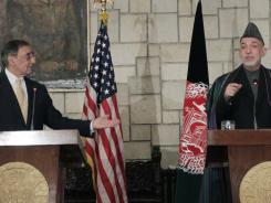 Afghan President Hamid Karzai and Defense Secretary Leon Panetta at a Wednesday news conference in Kabul.