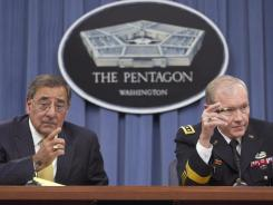 Defense Secretary Leon Panetta, left, and Joint Chiefs Chairman Gen. Martin Dempsey appear at a news conference Nov. 10 at the Pentagon.
