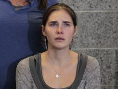 Amanda Knox has a news conference shortly after her arrival Oct. 4 at Seattle-Tacoma International Airport.