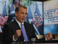 "No ""kicking the can down the road"":  Speaker John Boehner discusses extending a payroll tax cut on NBC's  Meet the Press ."