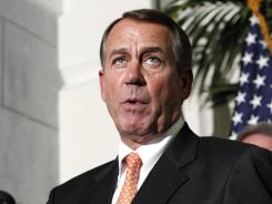 House Speaker John Boehner speaks at a news conference on Capitol Hill in Washington on Monday.