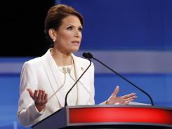 Rep. Michele Bachmann, R-Minn., speaks during a Republican presidential debate Thursday in Sioux City, Iowa.