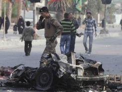 Car bomb:  More than 60 people were killed in a series of attacks in Baghdad on Thursday.