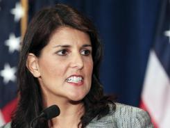 South Carolina Gov. Nikki Haley speaks in Charleston on Aug. 13.