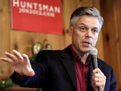 Former Utah governor Jon Huntsman campaigns in Peterborough, N.H., on Dec. 12.