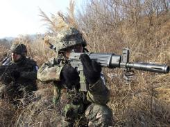 South Korean soldiers patrol near the demilitarized zone that separates the two Koreas.