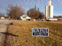 A Ron Paul sign outside a farm in Redfield, Iowa.