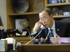 U.N. Secretary-General Ban Ki Moon speaks with Syrian President Bashar al-Assad from his office at U.N. headquarters in New York on March 4.