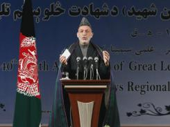 Afghan President Hamid Karzai speaks Saturday in Kabul.