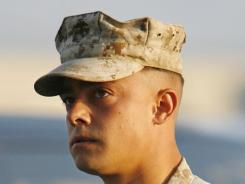 In this Aug. 30, 2007 photo, Marine Corps Staff Sgt. Frank Wuterich arrives for a hearing at Camp Pendleton Marine Corps Base in San Diego, Ca.