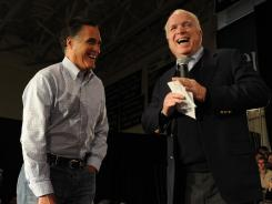 Former Massachusetts governor Mitt Romney is joined by Arizona Sen. John McCain at a campaign event in Manchester, N.H., on Wednesday.