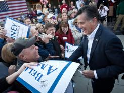 Former Massachusetts governor Mitt Romney campaigns in Charleston, S.C., on Thursday.