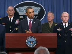From left, Leon Panetta, Gen. Ray Odierno, President Obama and Joint Chiefs of Staff Chairman Martin Dempsey.