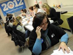 Ellen Roy works the phones at the Obama campaign headquarters in Manchester, N.H. The campaign has seven field offices in the only swing state in generally Democratic New England.