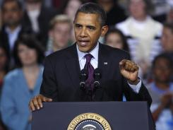 President Obama promotes the American Jobs Act in Manchester, N.H., on Nov. 22.