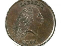 This 1793 coin sold for a record $1,380,000 in a public auction in Orlando, Fla.