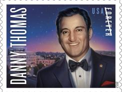 The Danny Thomas commemorative stamp goes on sale Feb. 16 and costs 45 cents.