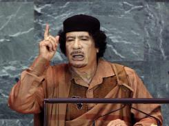 Moammar Gadhafi speaks to the United Nations General Assembly on Sept. 23, 2009 in New York.