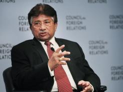 Former Pakistani president Pervez Musharraf speaks at the Council on Foreign Relations on November 2, 2011, in New York City.