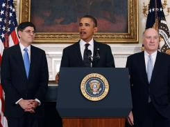 President Obama announces Monday that Jake Lew, left, will succeed his outgoing chief of staff, William Daley, right.