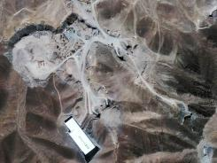 This Sept. 26, 2009, satellite image shows a nuclear facility under construction inside a mountain in Iran. Iran has begun uranium enrichment at a new underground site.