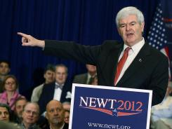 Former House speaker Newt Gingrich campaigns in Rock Hill, S.C., on Wednesday.